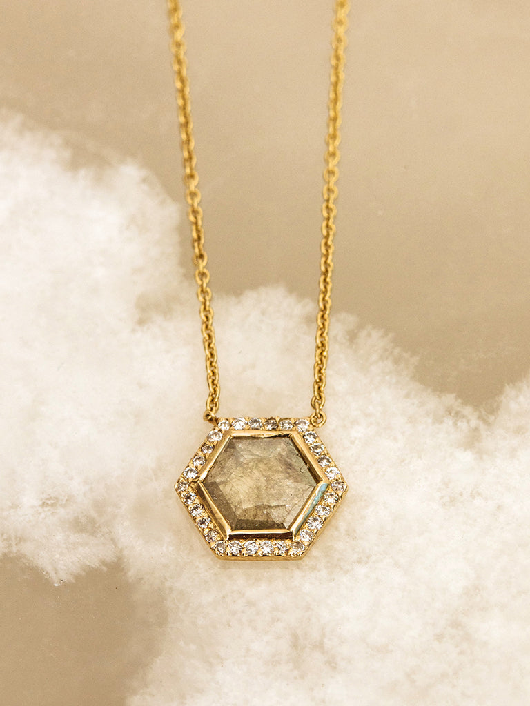 The Diamond Slice Halo Necklace