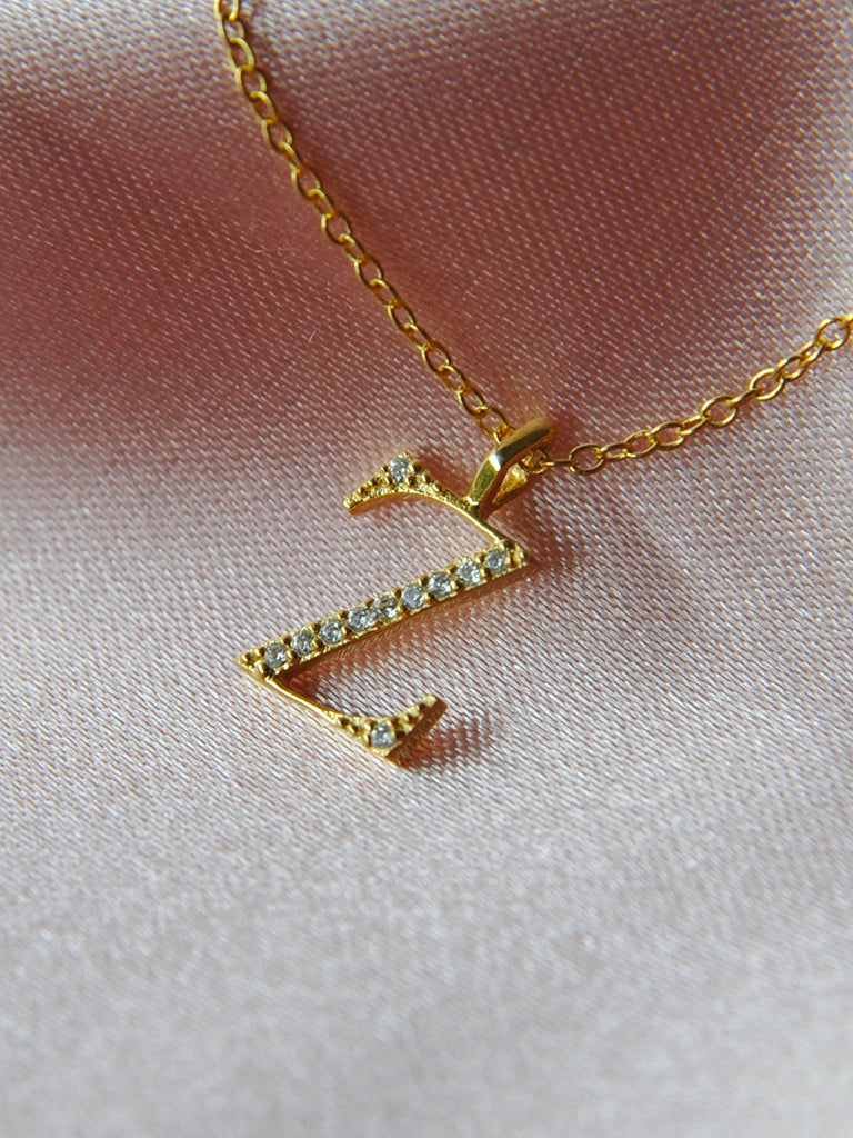 The Pavè Initial Charm Necklace