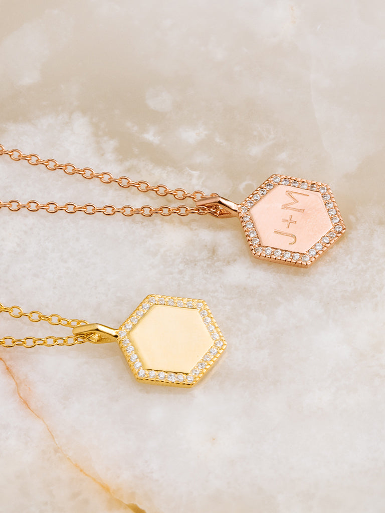 The Pavè Hex Disc Charm Necklace