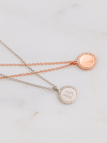 The Pavè Round Disc Charm Necklace