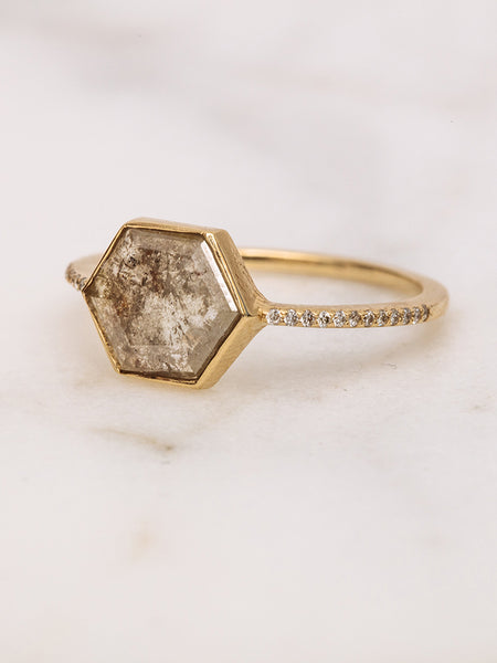 The Diamond Slice Ring with Pavè Band [SAMPLE SALE]