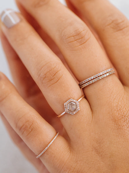 The Rose Cut Hex Halo Ring
