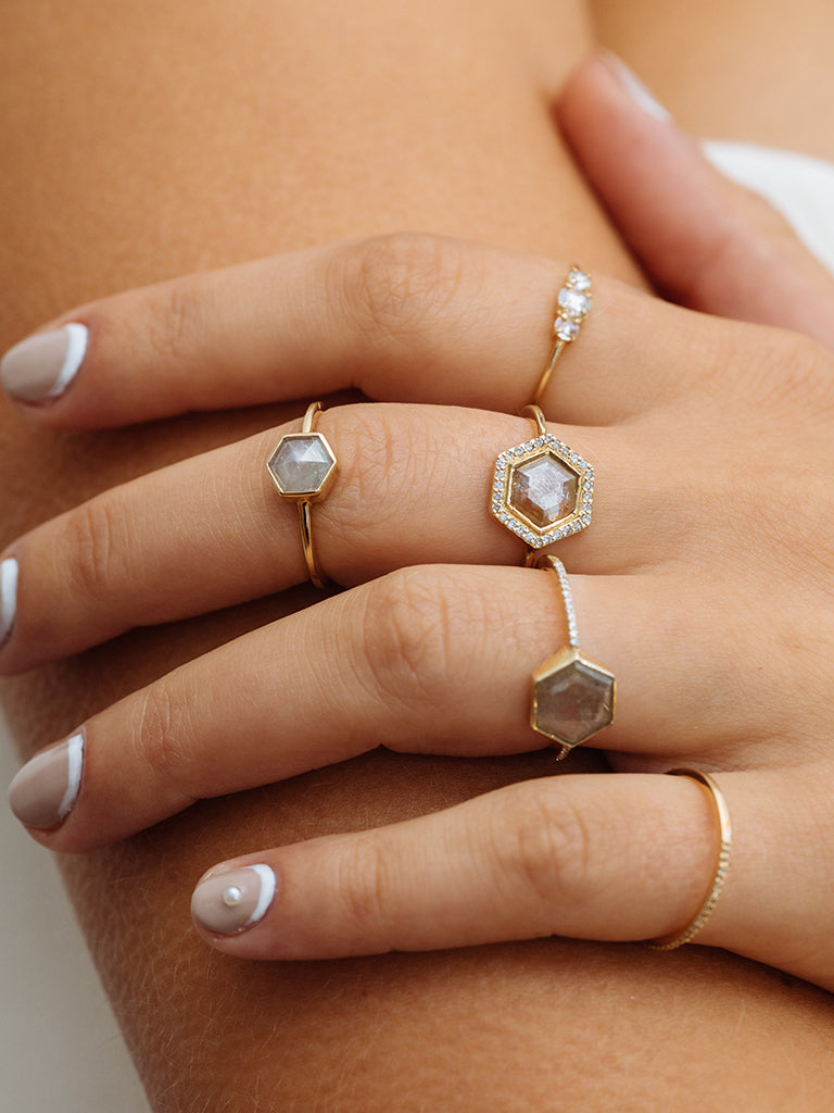 The Diamond Slice Ring with Halo + Plain Band
