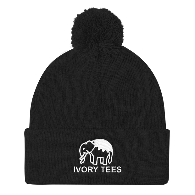 Embroidered Pom Pom Knit Cap