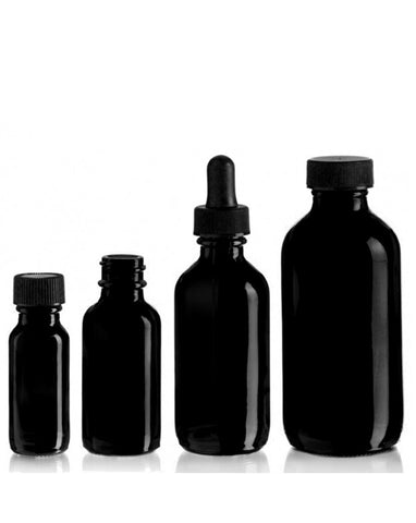 Glass Bottles w/Dropper (Black)