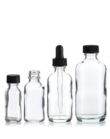 Glass Bottles w/Dropper (Clear)