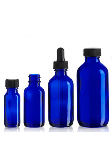 Glass Bottles w/Dropper (Cobalt Blue)