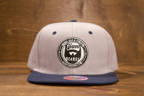 Giant Beards Snap Back Hat - Gray w/Blue