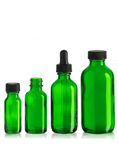 Glass Bottles w/Dropper (Green)