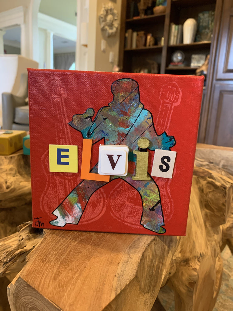 ELVIS (guitar background) Jennifer Meadows, Original Art - Farmhouse Tupelo