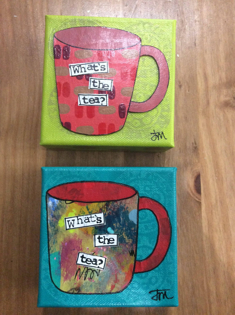 COFFEE/ TEA, 4x4 Original Art - Farmhouse Tupelo