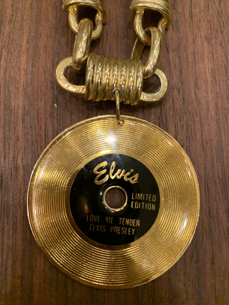 Elvis Necklace -1960's Record Pin/1980's Chain - Farmhouse Tupelo