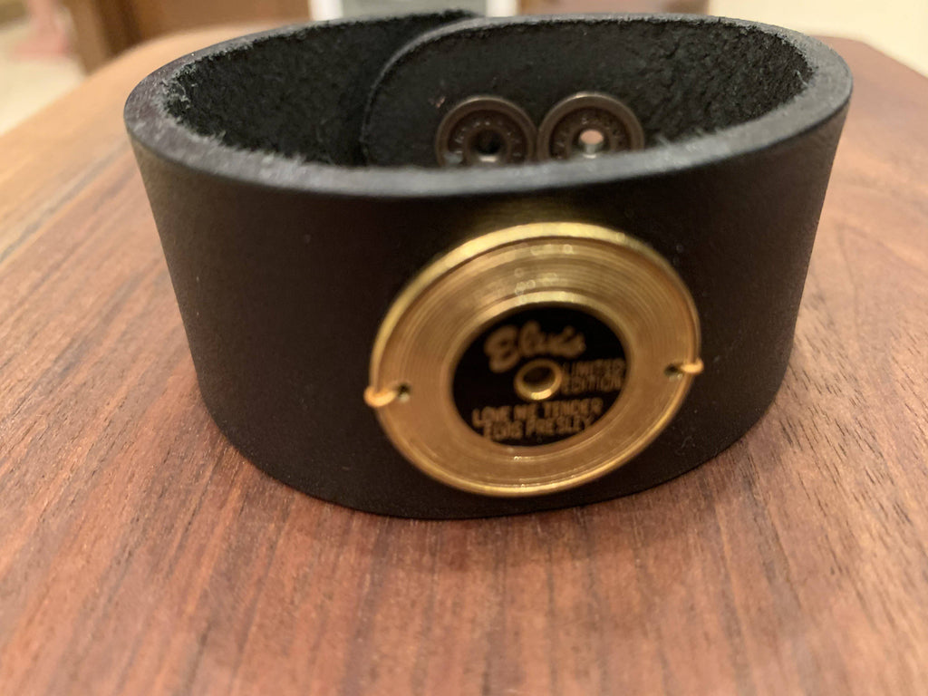 Elvis Leather Band with 1950's record pin - Farmhouse Tupelo