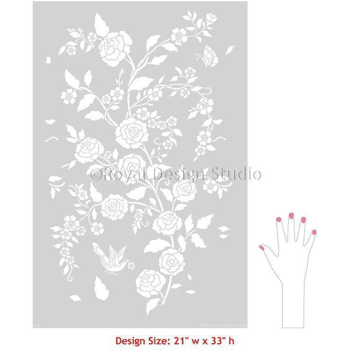 Meandering Rose Chinoiserie Wall Stencil - Farmhouse Tupelo