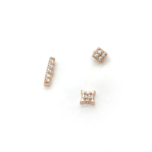 Three Rose Studs