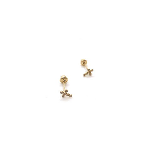 Mini Dot Cross - Golden Earrings
