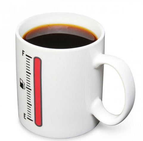 Image of 'Tank Up' Fuel Gauge Heat Sensitive Mug - ClutchKick.com