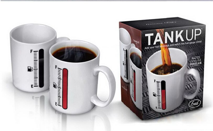 'Tank Up' Fuel Gauge Heat Sensitive Mug - ClutchKick.com