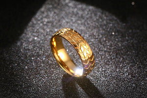 Tire Tread Ring Gold