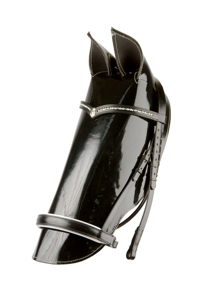 Dressage Bridle with Black Patent Leather Noseband