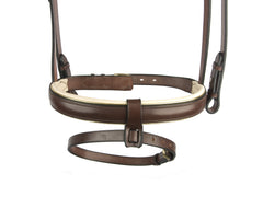 Dressage Bridle with Brass Buckles and Cream Padded Noseband - Mal Byrne Performance Saddlery