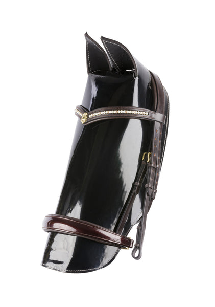 Dressage Bridle With Patent Leather tapered Noseband
