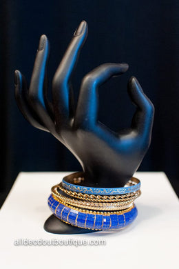 ADO |  Royal Blue & Gold Bangle Set Bracelet - All Decd Out