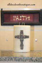 DECORATIVE CANDLE PIN EMBELLISHED Topaz Crystals EXTRA LARGE CROSS