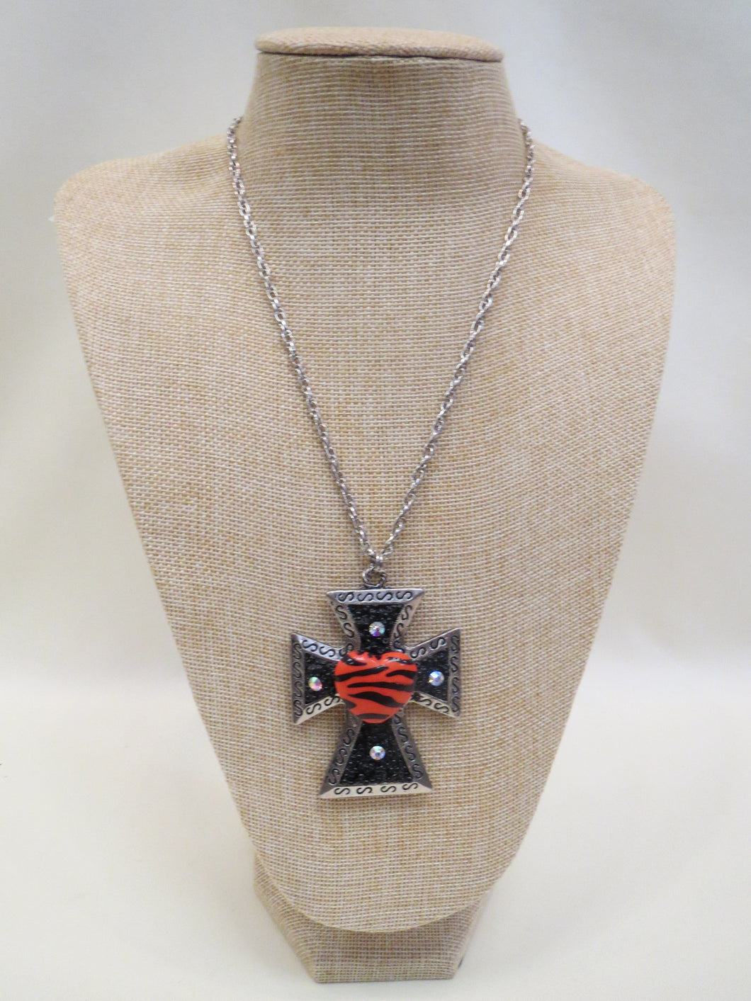 ADO Tiger Heart Cross Necklace | All Dec'd Out
