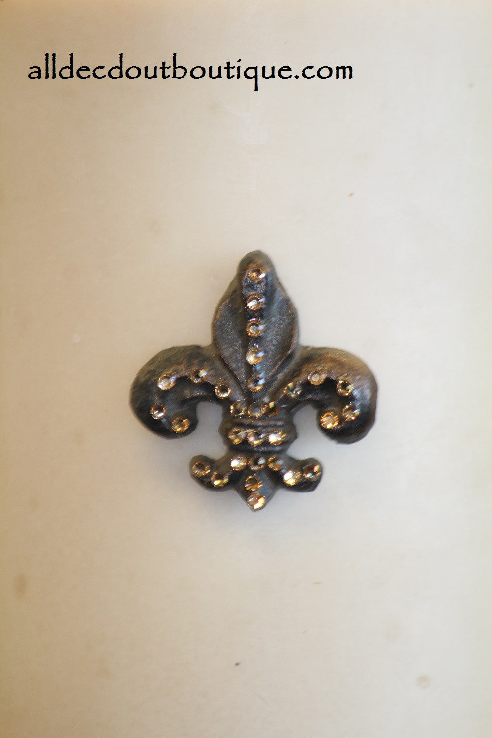DECORATIVE CANDLE PIN EMBELLISHED | Topaz Crystals Small Fleur De Lis