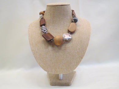 Treska Wood & Silver Beaded Necklace | All Dec'd Out