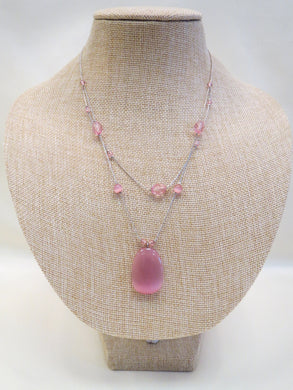 Treska Pink Crystal Silver Chain Necklace | All Dec'd Out