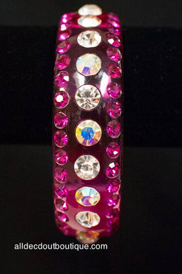 ADO | Pink Lucite Bangle Bracelet with Crystals