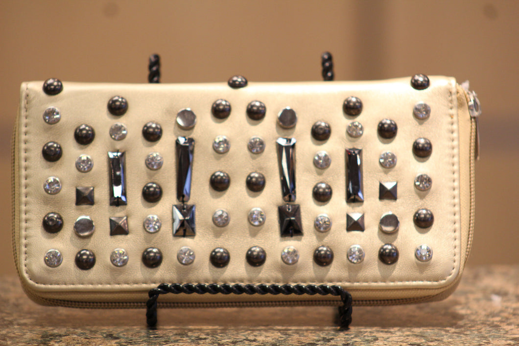 ADO | Crystal Front Zip Clutch Wallet Gold - All Decd Out