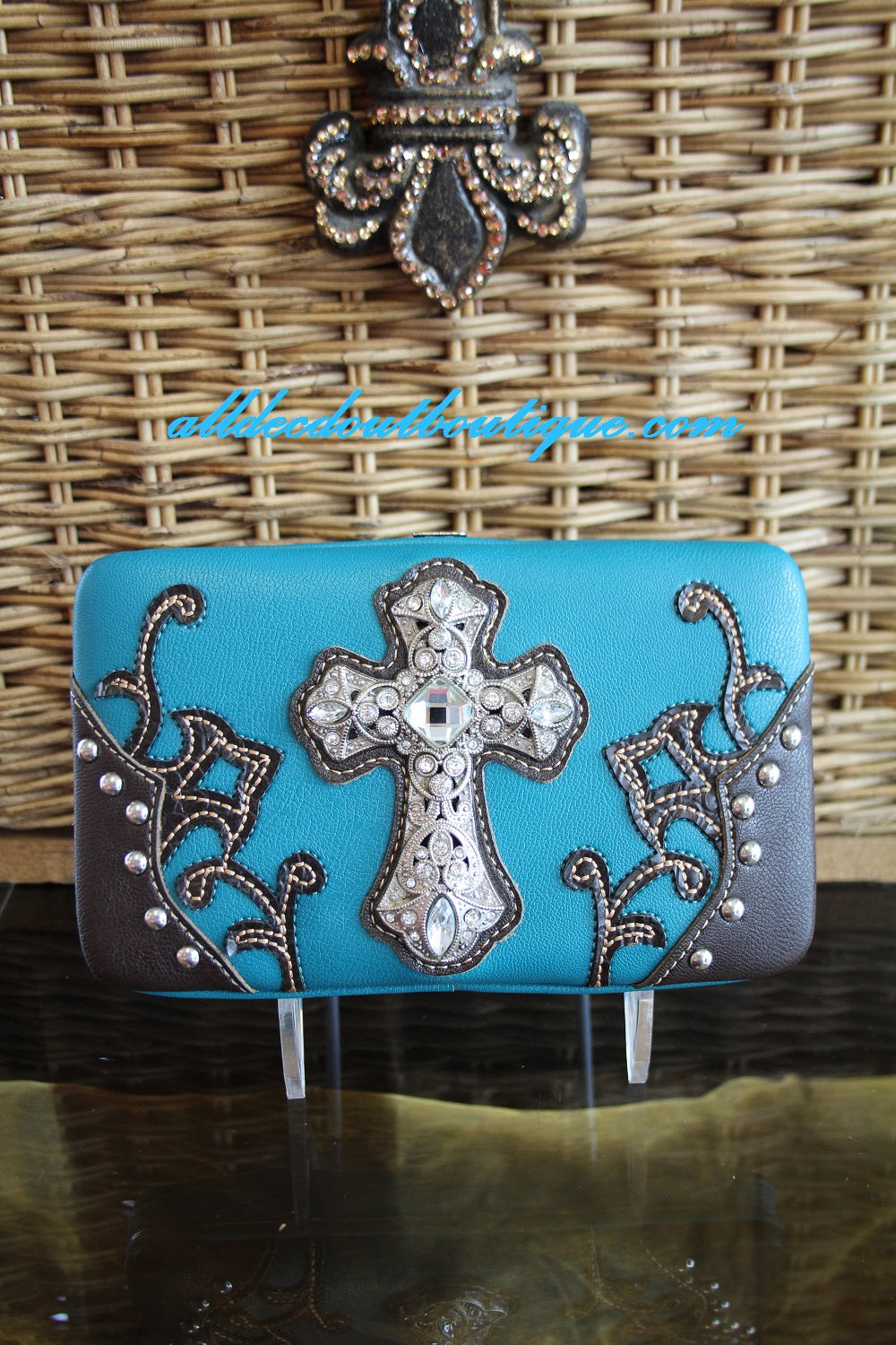 ADO | Blue Clutch Wallet with Embellished Cross - All Decd Out