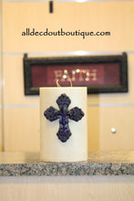 DECORATIVE CANDLE PIN EMBELLISHED | Royal Purple Crystals Large Cross