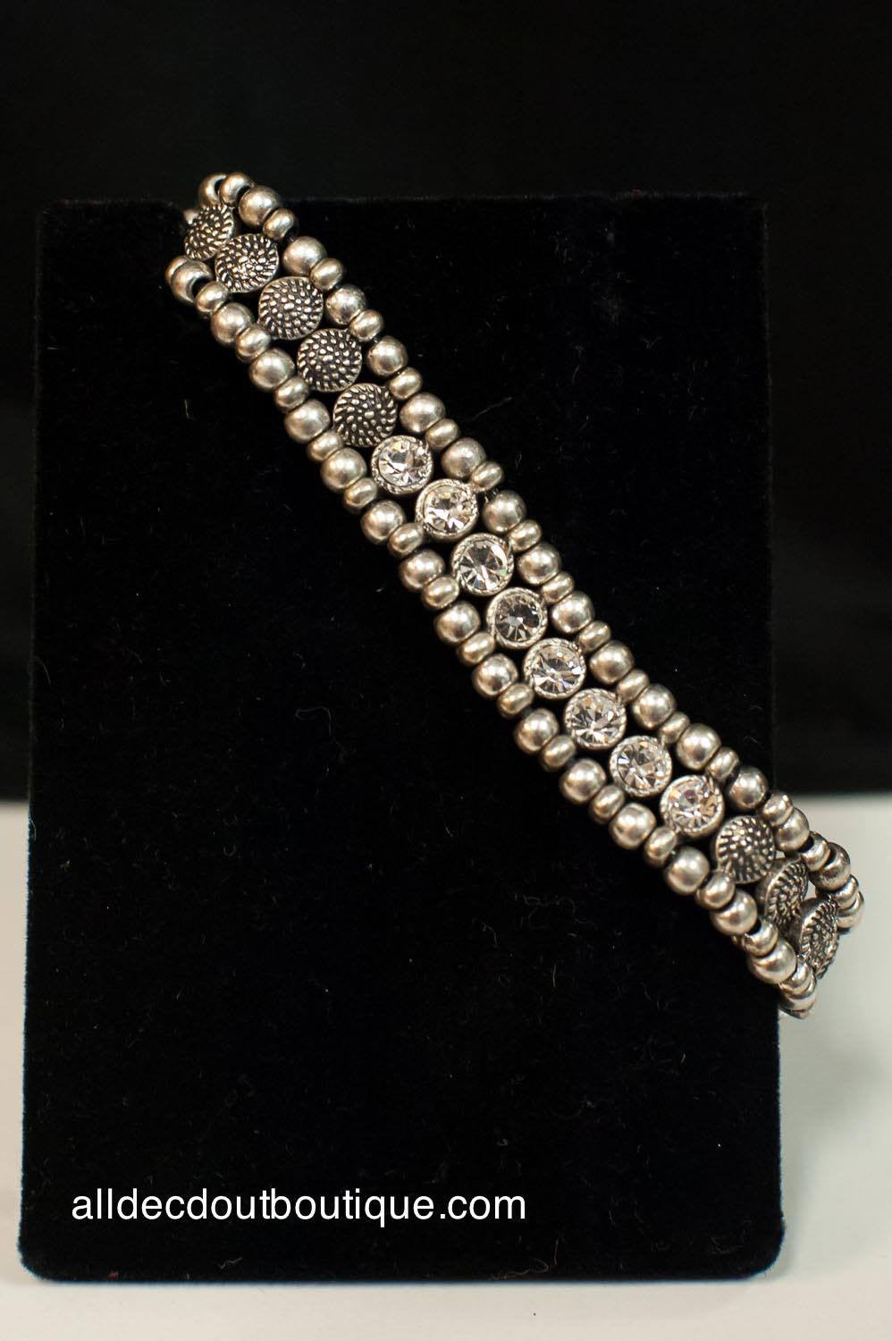 ADO | Beaded Adjustable Bracelet with Crystals - All Decd Out