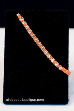 ADO |  Bright Orange Adjustable Bracelet with Crystals - All Decd Out