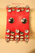 Red/White Silver Studs Clear Rhinestones | Leather Band with Button Clasp