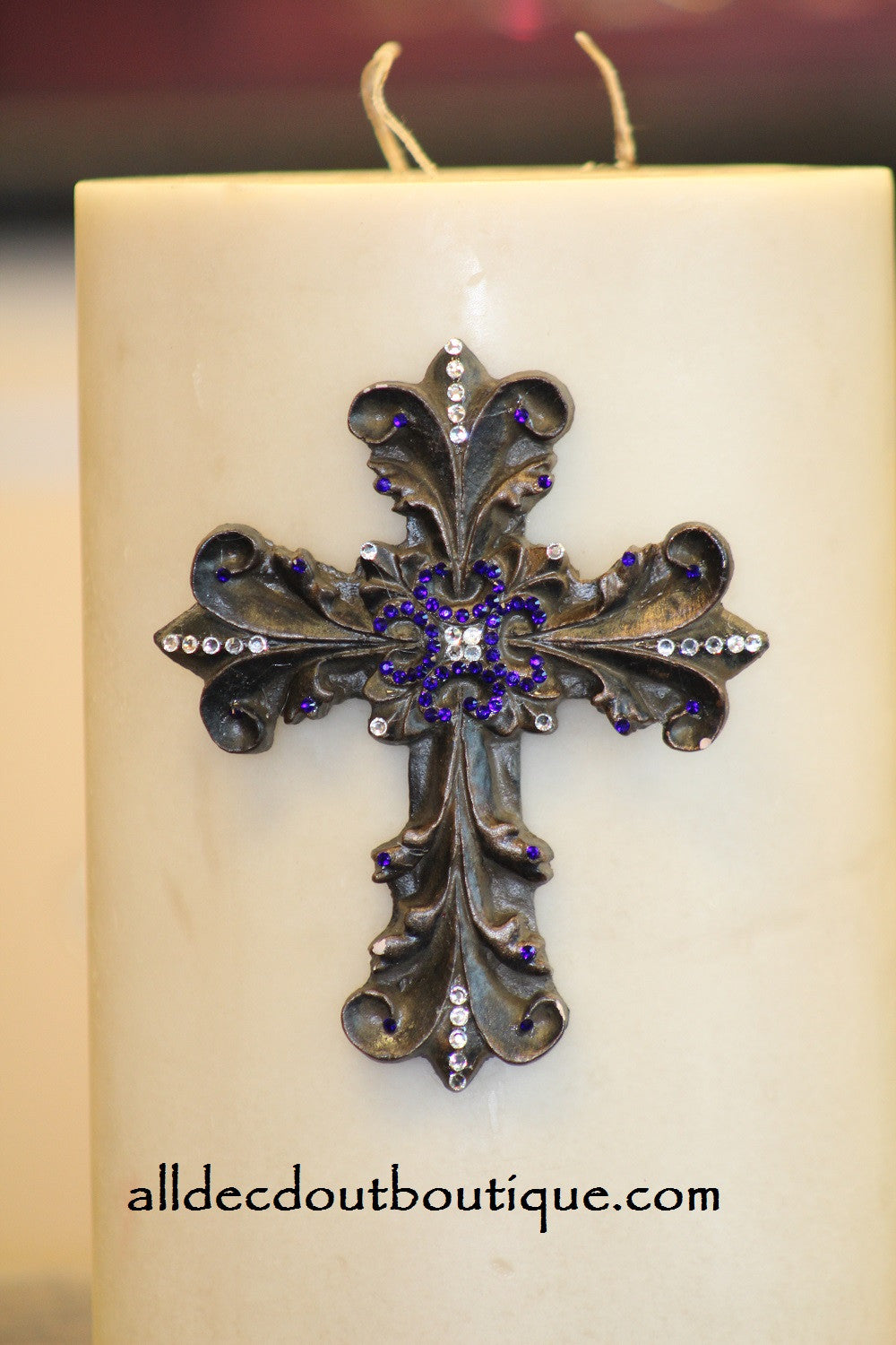 DECORATIVE CANDLE PIN EMBELLISHED | Royal Purple/White Crystals Large Cross