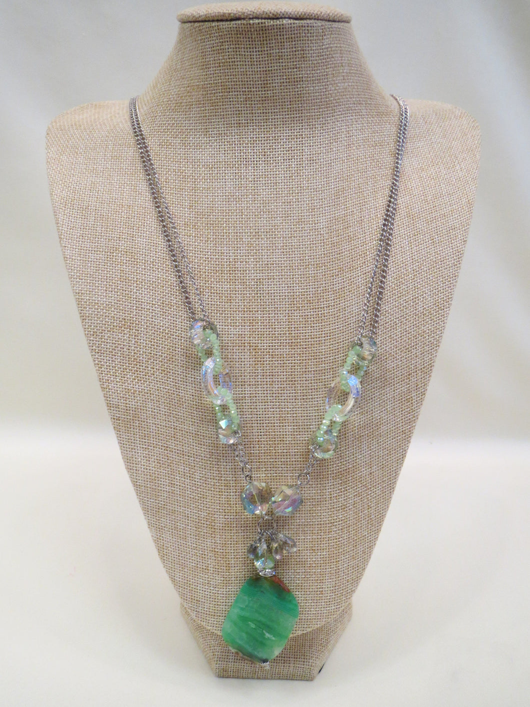 ADO | Green Gem Stone Pendant Necklace Long - All Decd Out