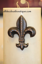 DECORATIVE CANDLE PIN EMBELLISHED Topaz Crystals Large Fleur De Lis