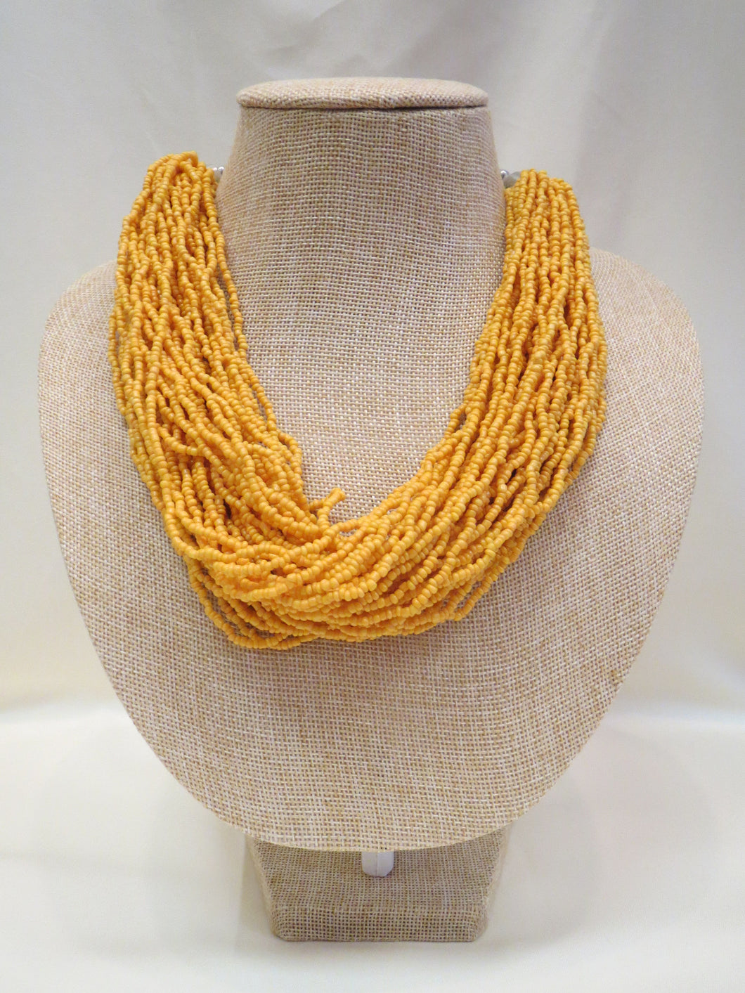 ADO | Yellow Multi Strand Beaded Necklace - All Decd Out