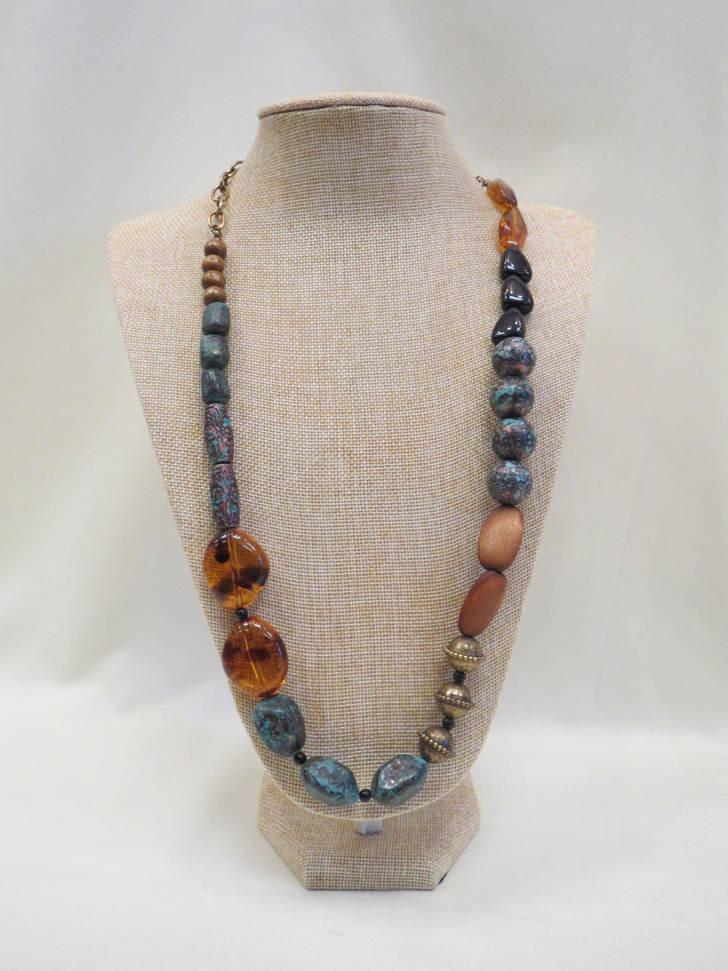 ADO Turquoise & Wood Beaded Necklace | All Dec'd Out