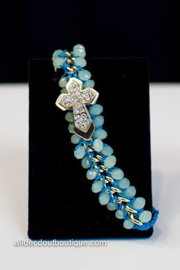 ADO | Blue Adjustable Bracelet with Gold Embellished Cross - All Decd Out