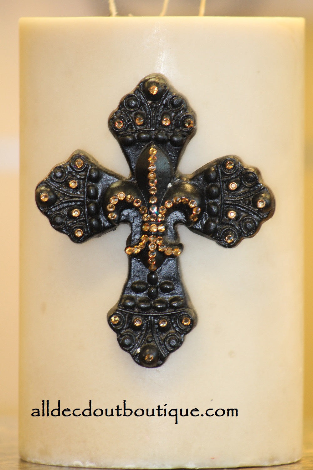 DECORATIVE CANDLE PIN EMBELLISHED Topaz Crystals Large Cross/Fleur De Lis