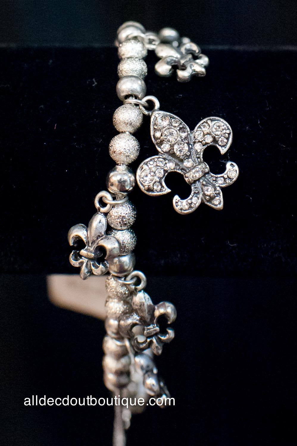 ADO | Silver Beaded Fleur De Lis Adjustable Charm Bracelet