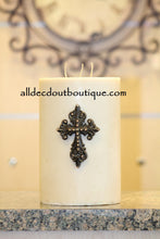 DECORATIVE CANDLE PIN EMBELLISHED | Topaz Crystals Medium Cross