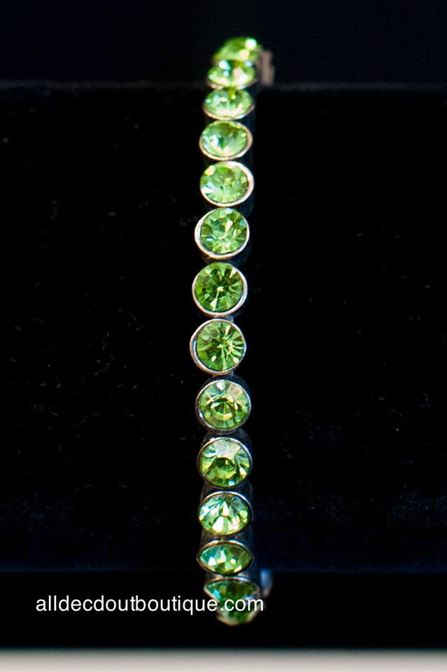 ADO | Silver Magnet Bracelet with Lime Green Crystals