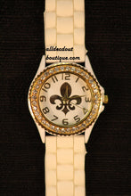 White/White Gold Fleur De Lis Clear Rhinestones | Silicone Band - All Decd Out
